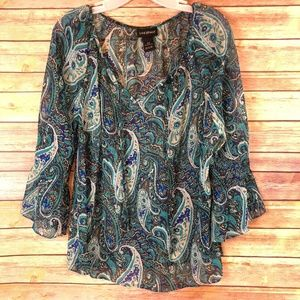 Lane Bryant Paisley Blouse with 3/4 Bell Sleeves